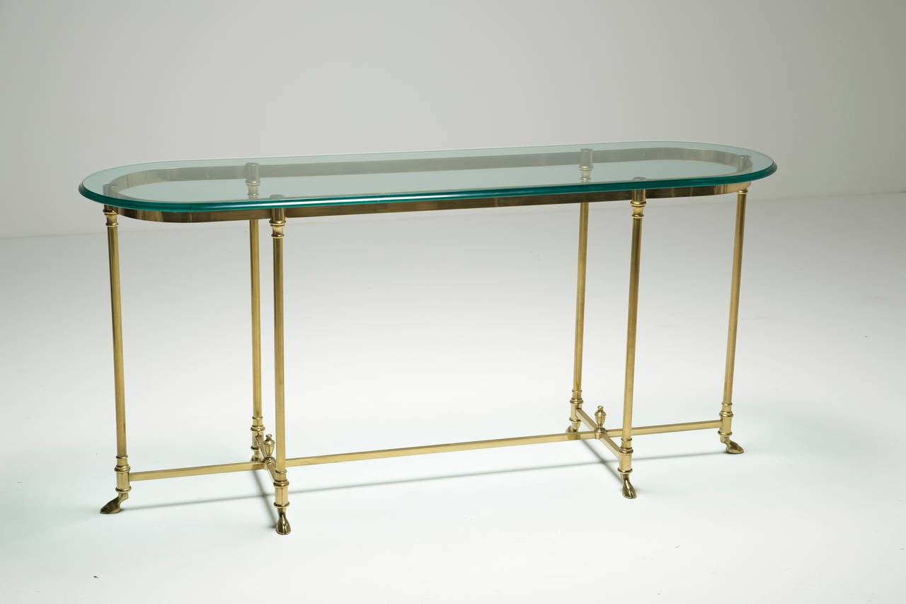 A Brass Labarge Hollywood Regency Console Table With Hoof Feet 3