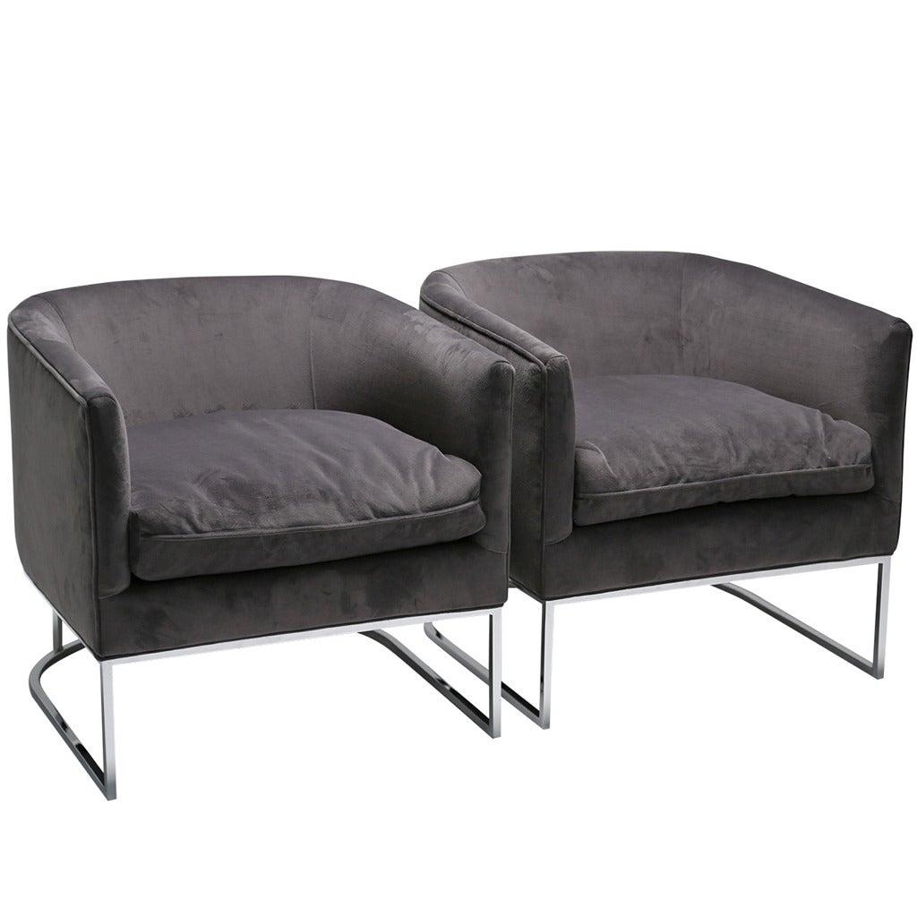 Pair of Grey Velvet Chrome Milo Baughman Style Tub Chairs at 1stdibs