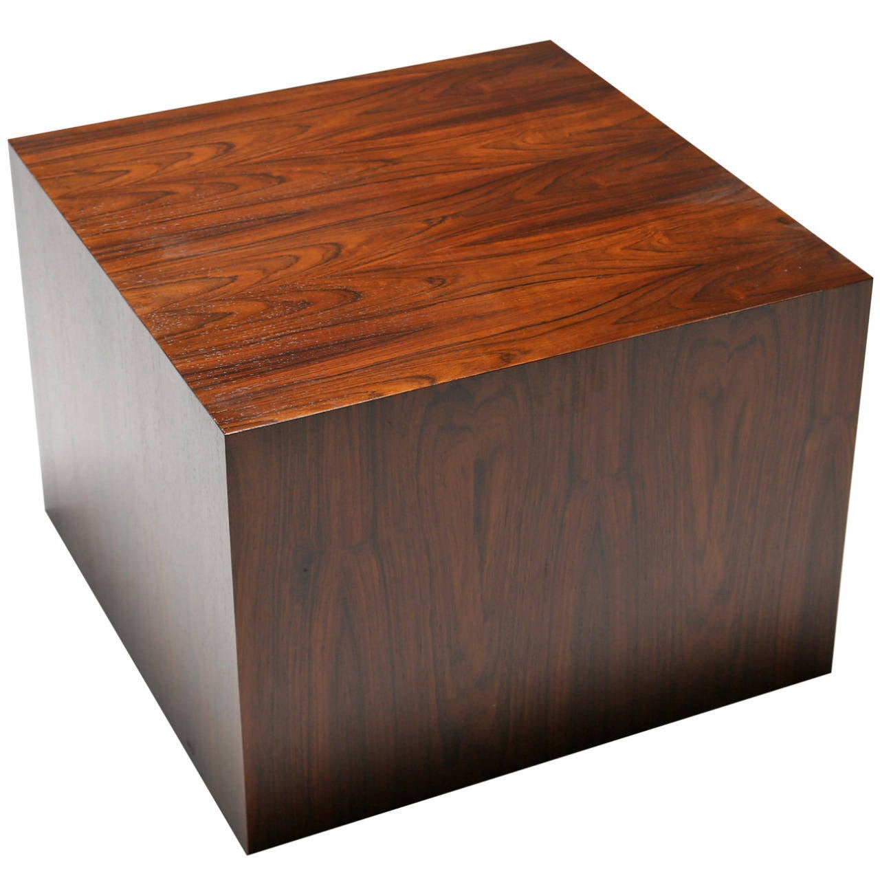 A Rosewood Cube Side Table In The Manner Of Milo Baughman. 1