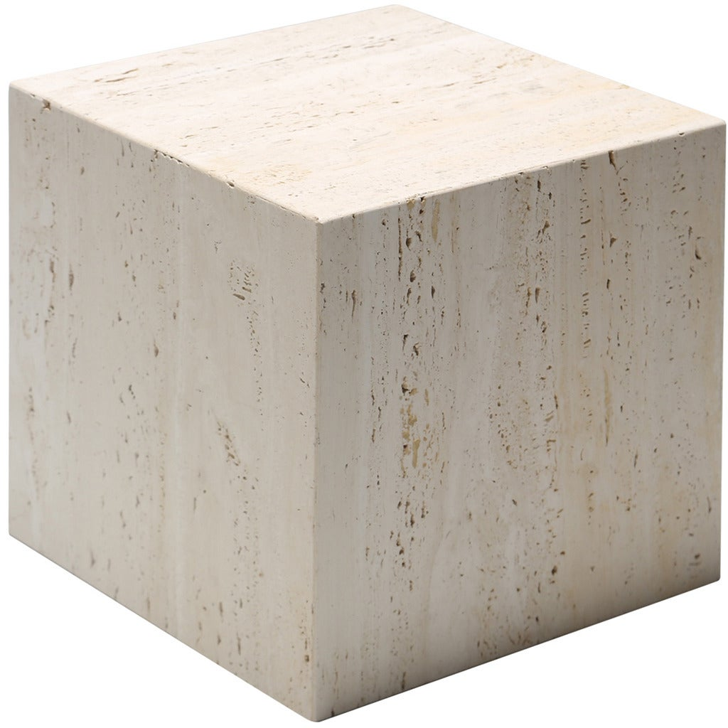 Exceptional A Travertine Cube Side Table. 1