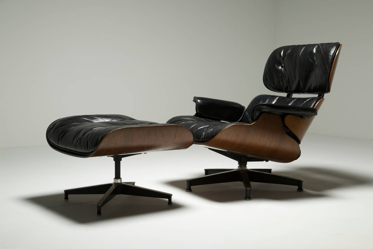 Eames Chair With Ottoman Mid Century Eames Lounge Chair And Ottoman At 1stdibs