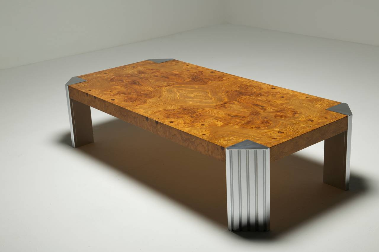 Burlwood And Chrome Pace Collection Style Coffee Table With Skyscraper Legs At 1stdibs