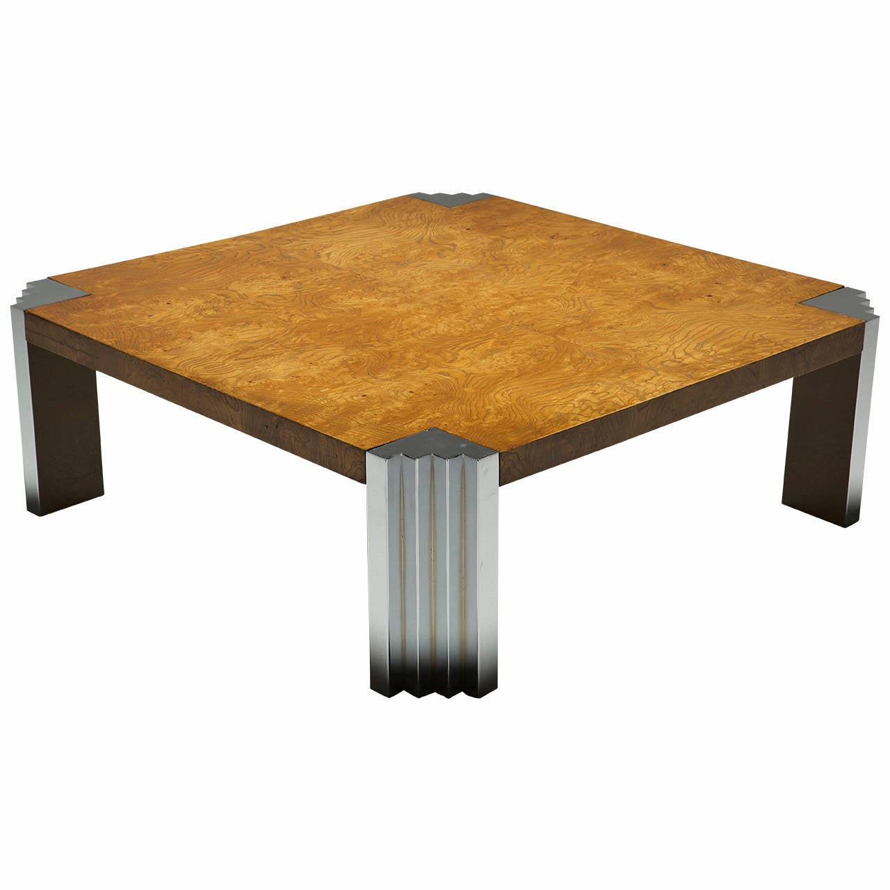Burr walnut and chrome pace collection style skyscraper coffee table for sale at 1stdibs Collectors coffee table