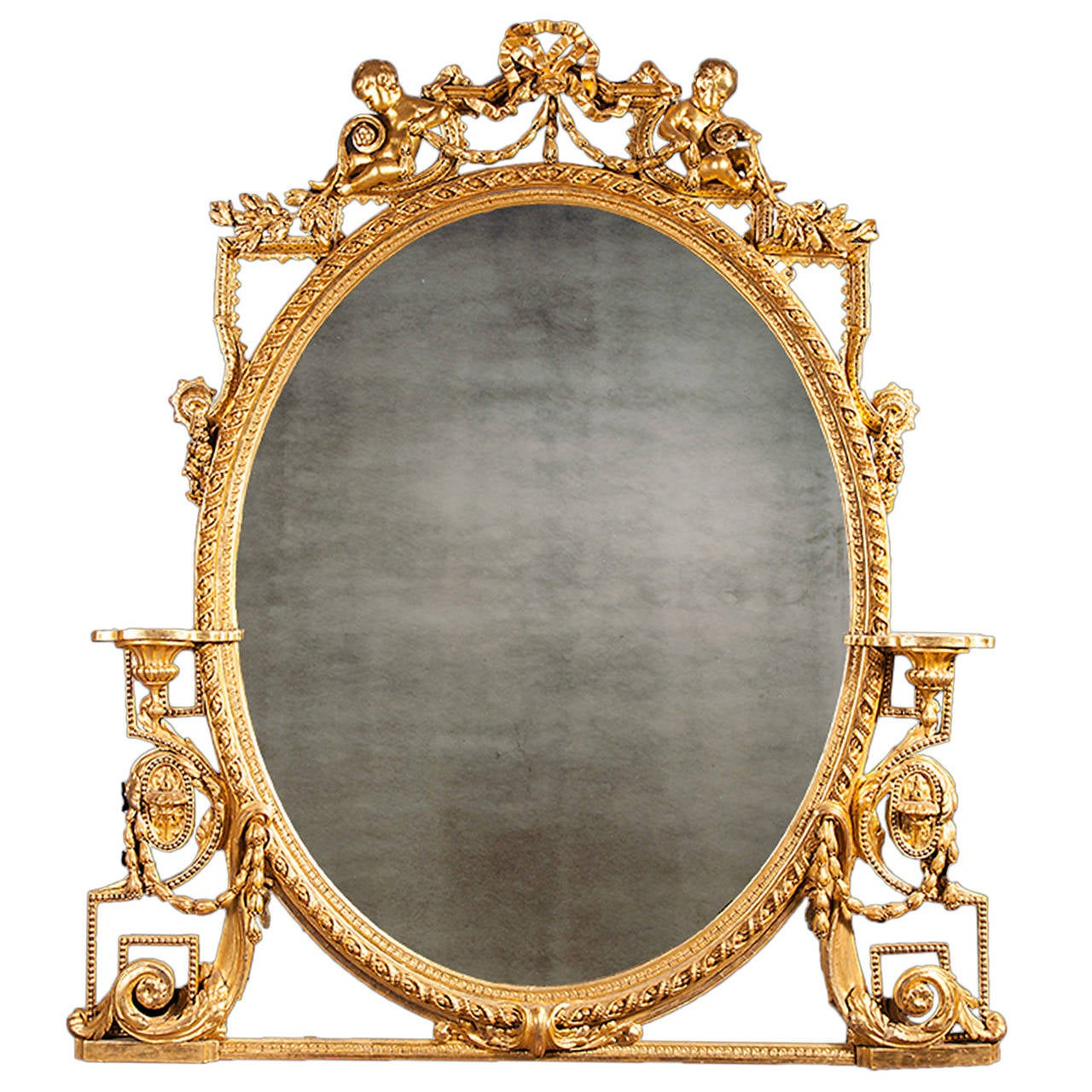 Antique gilt over mantel mirror at 1stdibs for Mantel mirrors