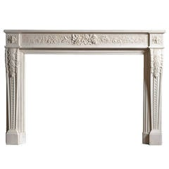 French Louis XVI Style Marble Fireplace