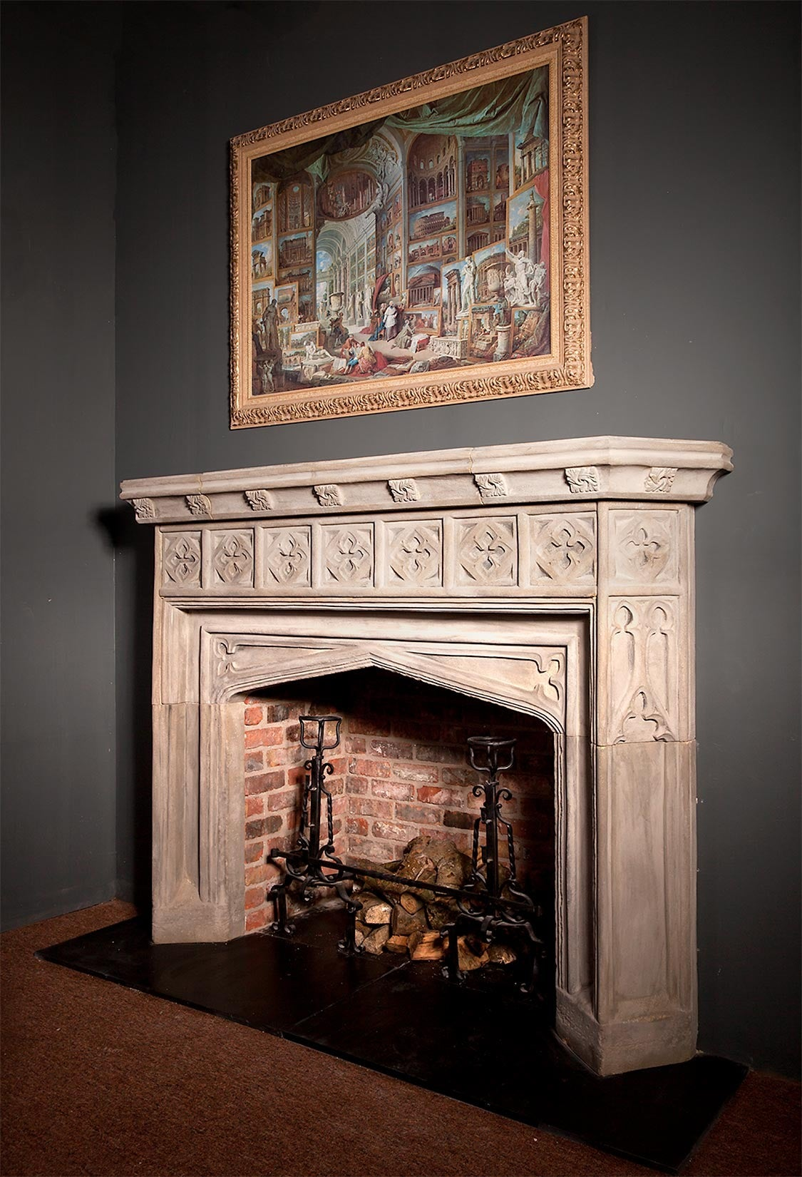 Gothic Revival Stone Fireplace For Sale At 1stdibs