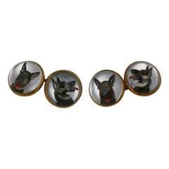 Fine Essex Crystal Dog Cufflinks