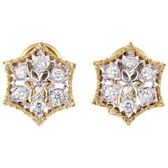 Mario Buccellati Diamond Two-Tone Gold Snowflake Earrings