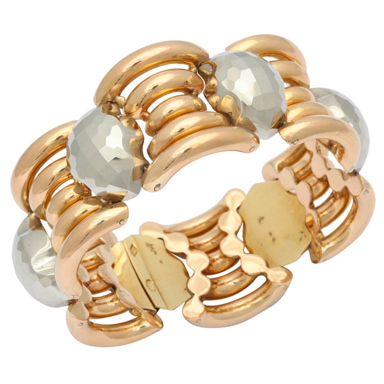 Italian Rose Gold and Faceted Grey Gold Bracelet For Sale
