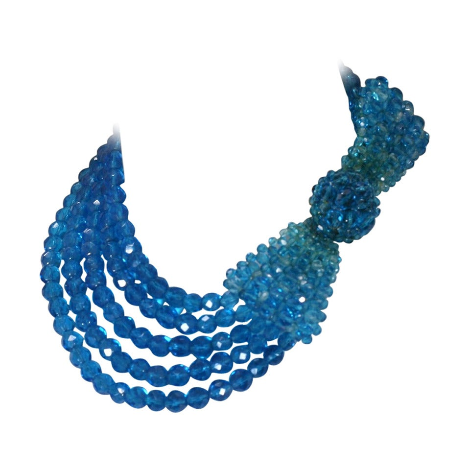 Coppola e Toppo Blue Crystal Bow Necklace For Sale