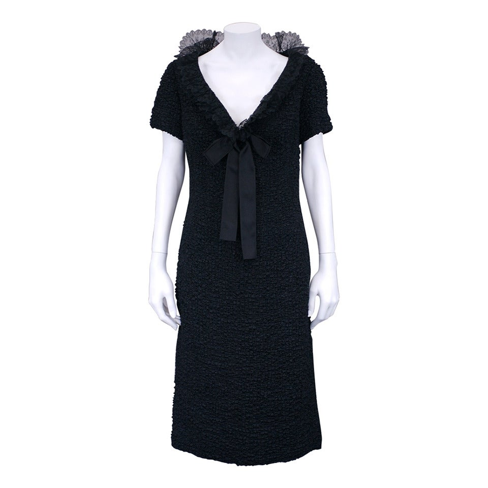Christian dior black silk cloque and lace cocktail dress for Dior couture dress price