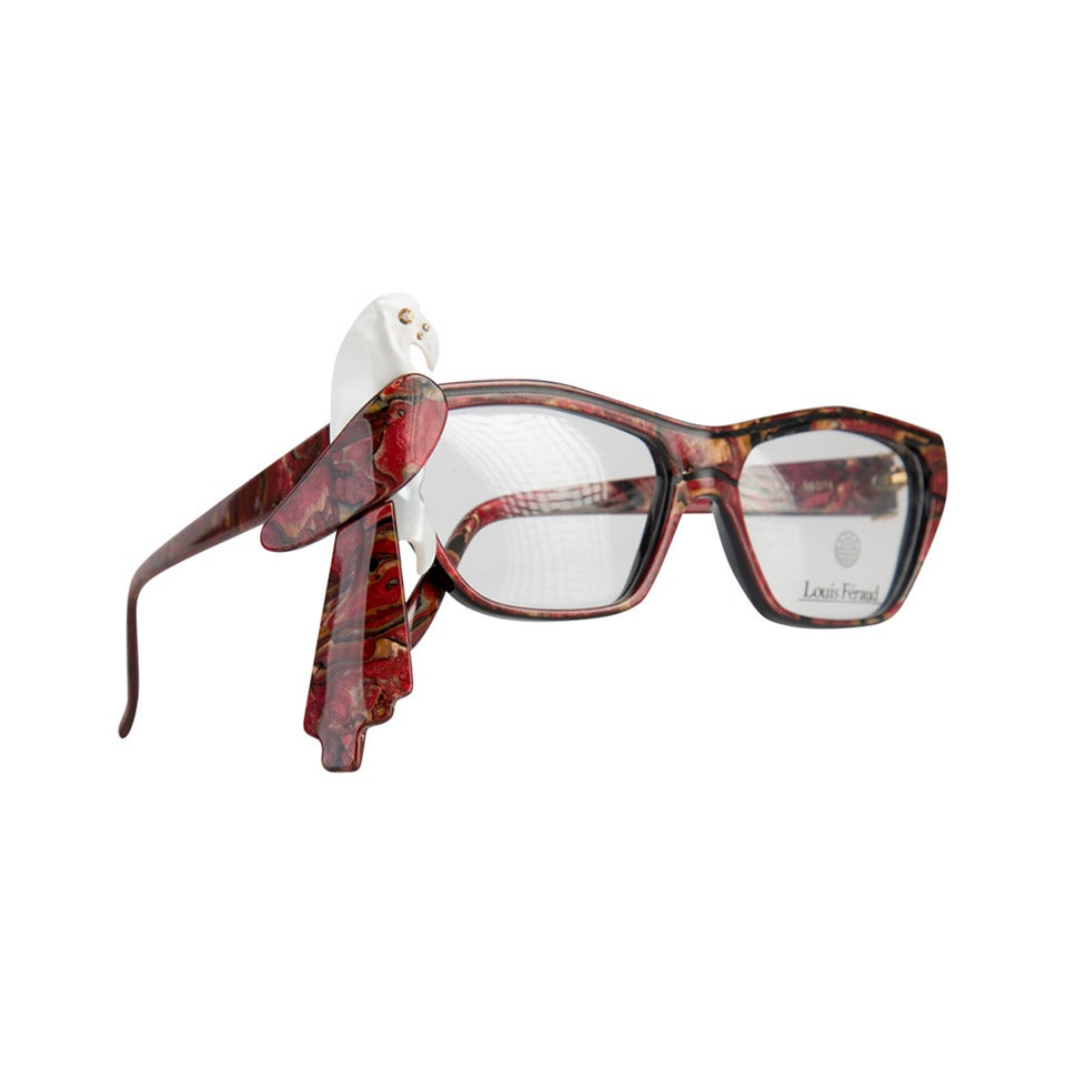 1980s Louis Feraud Parrot Marble Burgundy Glasses Frames for Sunglasses