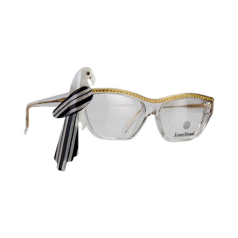 1980s Louis Feraud Yellow & Black  Parrot Frames for Glasses & Sunglasses For Sale