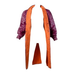 Krizia for Neiman Marcus Vintage 1980s 80s Quilted Purple + Orange Coat