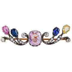 Belle Époque French Pink Sapphire Diamond Brooch