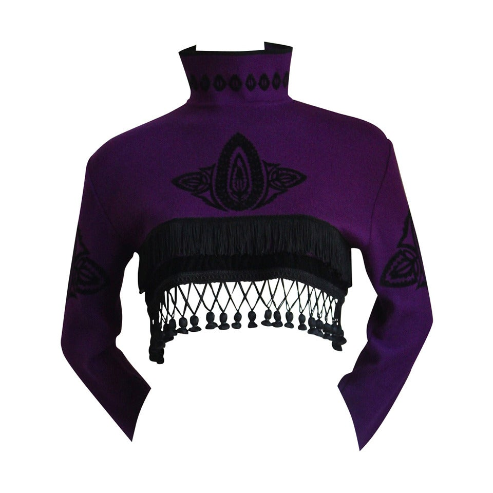 1980's JEAN PAUL GAULTIER for EQUATOR cropped sweater with fringe 1