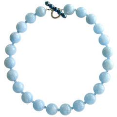 Aquamarine London Blue Topaz Pearl Clasp Bevin Necklace