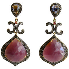 Raspberry Pink Violet Sapphire Diamond Candace Earrings
