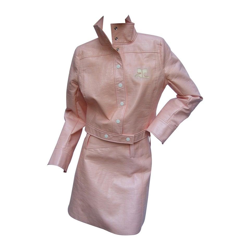 Courreges Paris Iconic Mod Pink Vinyl Jacket And Skirt