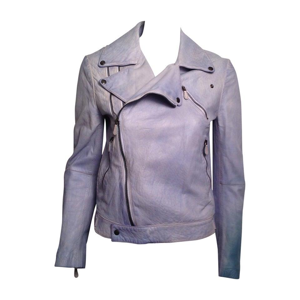 Alexander McQueen Powder Blue Biker Jacket