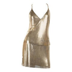 1982 Gianni Versace Couture Metal Mesh Oroton Top and Skirt