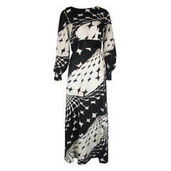 1970s Estevez Black and White Abstract Jersey Maxi Dress