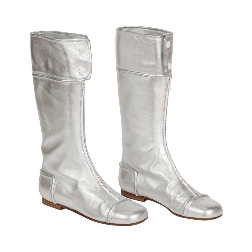 1990s iconic courreges silver leather go go boots size 39