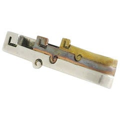 Antonio Pineda .970 Silver and Mixed Metals Tie Clip 1967