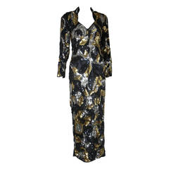 1980s Sweelo Black Silver and Gold Sequin Gown
