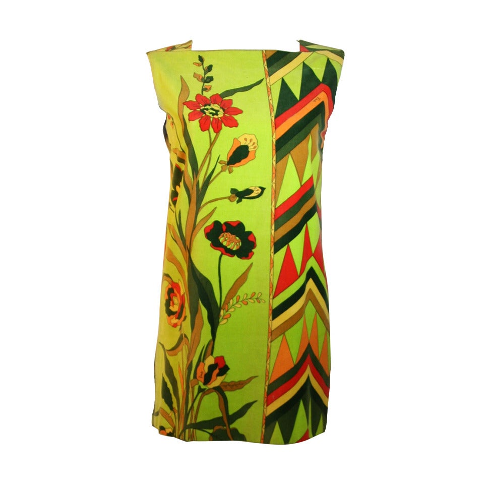 Emilio Pucci Olive Green Orange and Red Floral Print Velvet Shift Dress