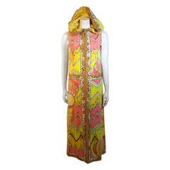 Emilio Pucci 1960s Salmon Pink & Yellow Cotton Velvet Zip up Hooded Cover-up