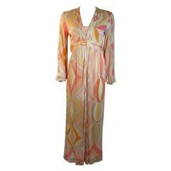 Emilio Pucci Plunge Neckline Maxi Dress