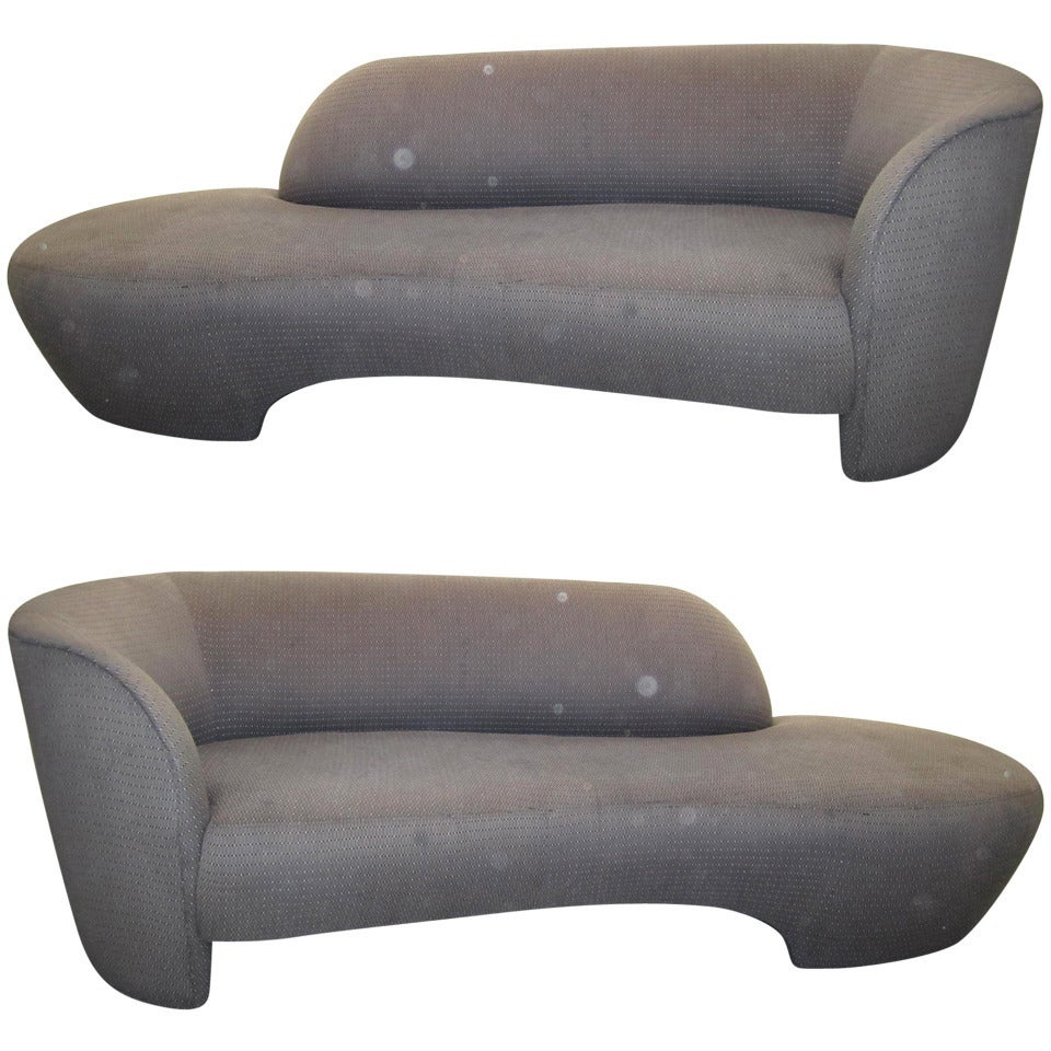Pair Book Matched Kagan Style Weiman Preview Kidney Shaped Sofas For