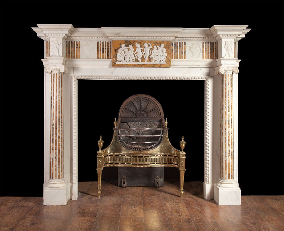 antique marble fireplace in the adam style at 1stdibs. Black Bedroom Furniture Sets. Home Design Ideas