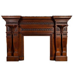 Large 19th Century English Oak Antique Fireplace