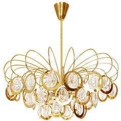 Sciolari Style Chandelier, Glass and Brass, 1960s