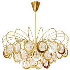 Sciolari Style Chandelier, Glass and Brass, 1960s