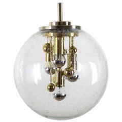 Large Doria Globe Pendant Light, Glass and Brass, 1970
