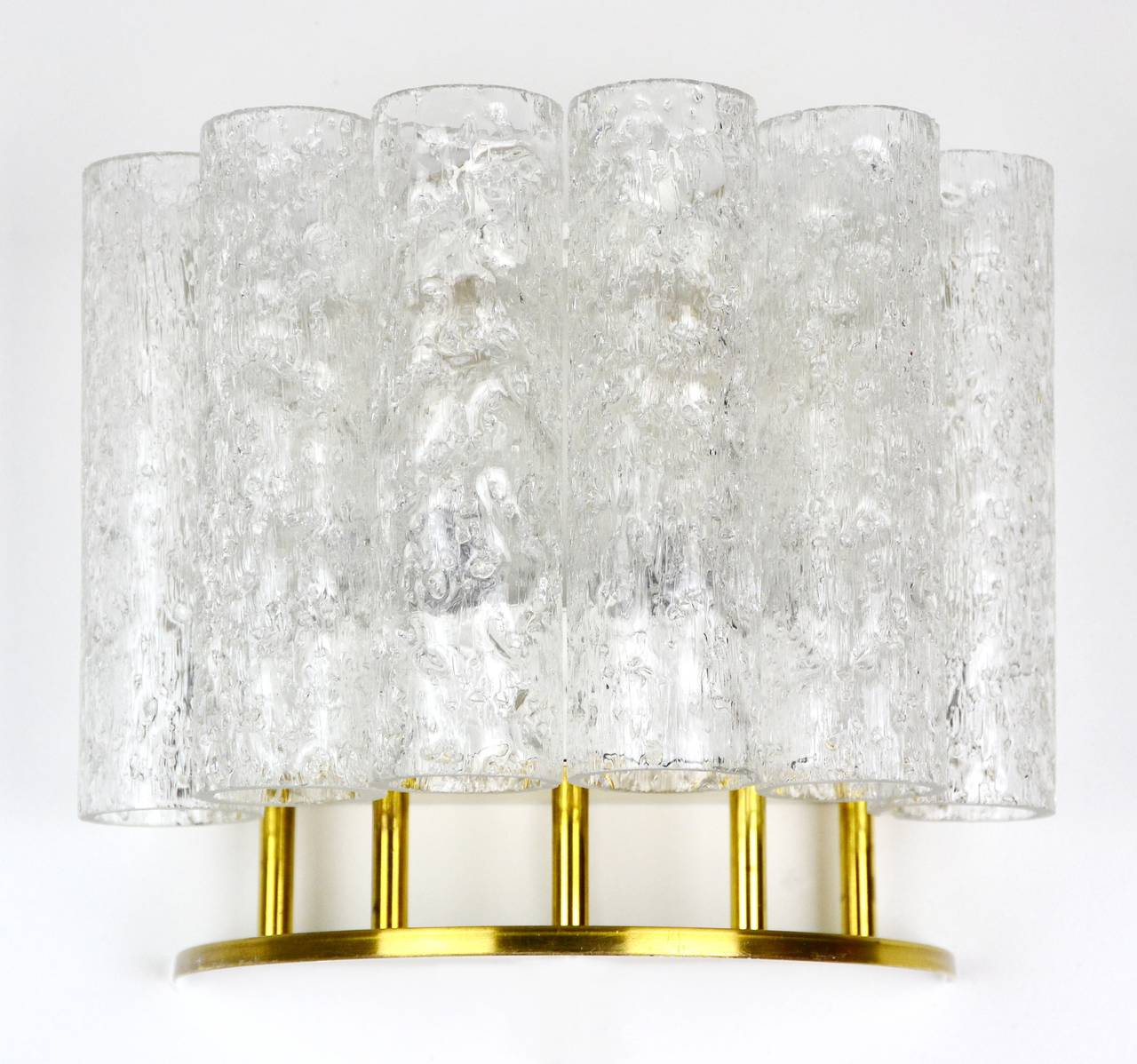 Ice Glass Tube Wall Lamp Light Sconce by Doria, 1960s at 1stdibs