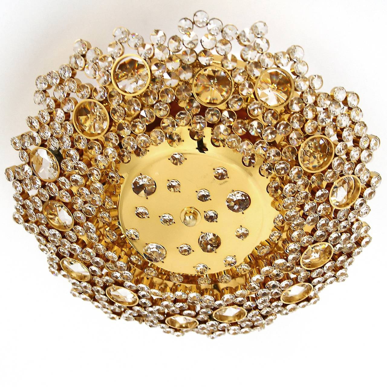 Mid-Century Modern Gilded Brass and Crystal Glass Flush Mount by Palwa, 1960s For Sale