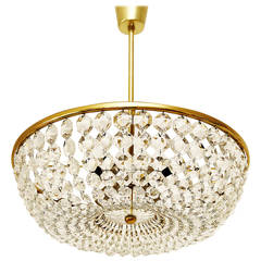 Important Viennese Coffee House Basket Crystal Chandelier by Lobmeyr, 1960s