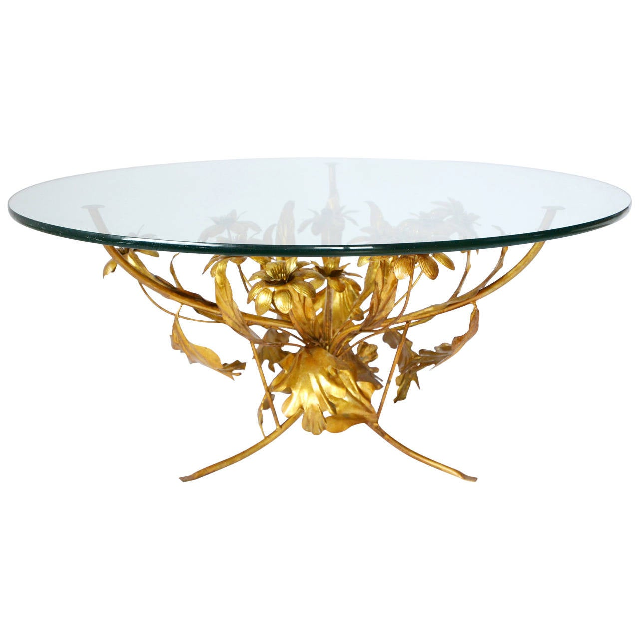 gilt floral italian glass coffee table 1960s at 1stdibs