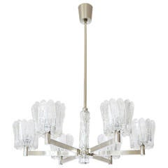 1960s Ice Glass Chrome Chandelier by Carl Fagerlund for Orrefors