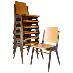 Set of 12 Stacking Chairs by Franz Schuster, Austria, 1950s