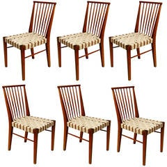 Set of Six Very Rare Roland Rainer Chairs, Austria, 1950s