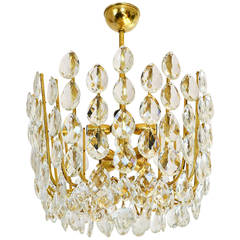 Basket Chandelier Pedant Light, Brass and Crystal Glass, Austria, 1950s