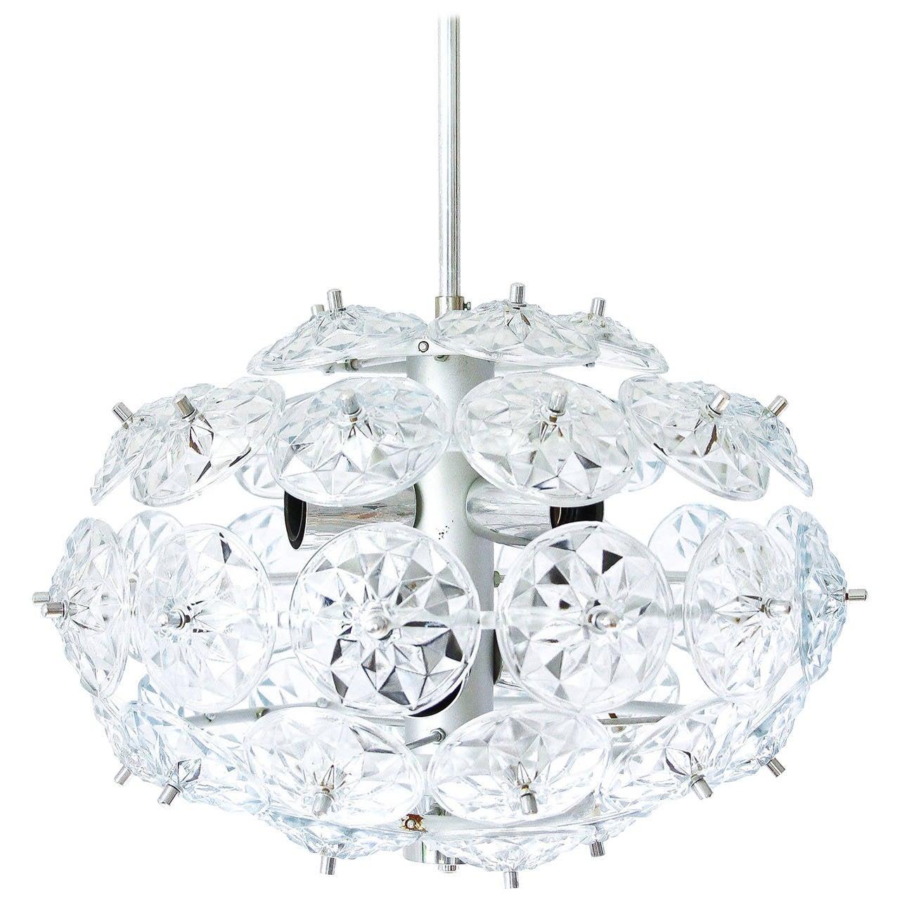 Sputnik Chandelier Kinkeldey Style, Glass Chrome, 1960s For Sale