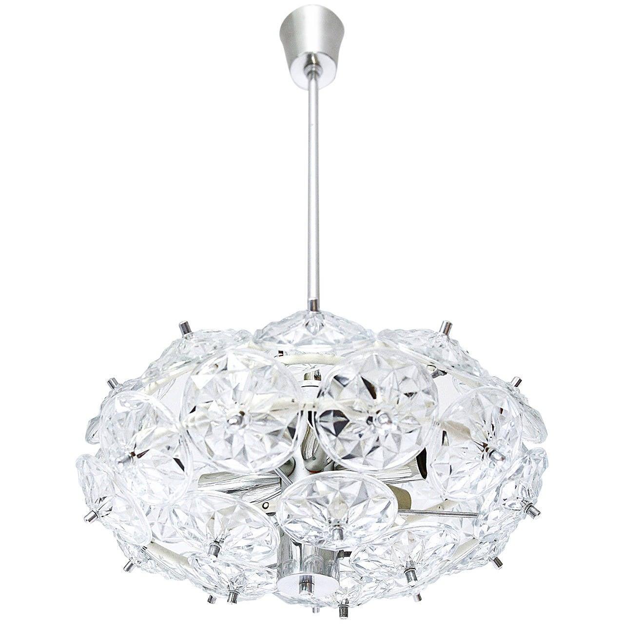 Sputnik Pendant Light Kinkeldey Style, Glass Chrome, 1960s