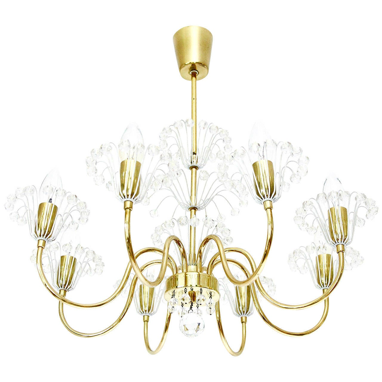 Emil Stejnar Chandelier for Rupert Nikoll, Brass and Glass, 1950s For Sale