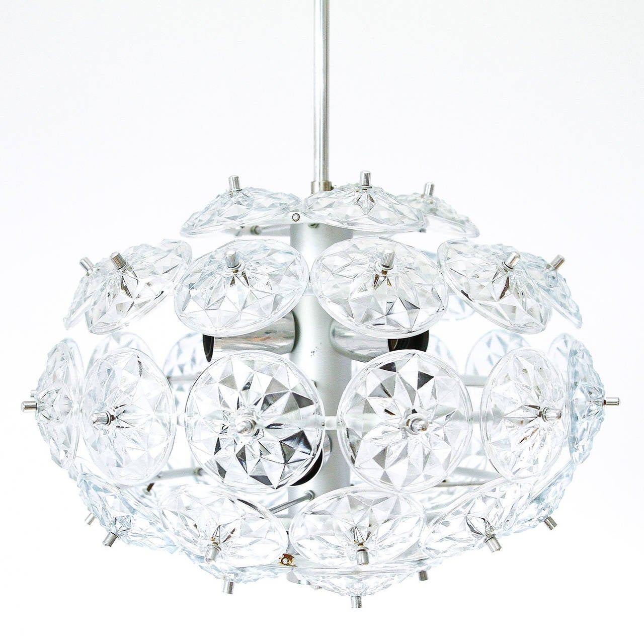 German enameled and chromed glass sputnik chandelier in the style of Kinkeldey, manufactured in Mid-Century.  It takes six medium Edison base blubs (E26 or E27) up to 40 watts per bulb.  Diameter: 17.32 in. Height: 12.6 in. (light body only